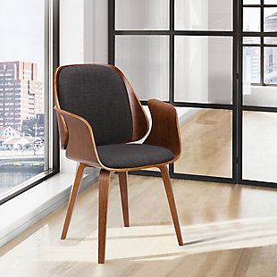 Tiffany Dining Chair in Charcoal Fabric with Walnut Veneer Finish, , rollover