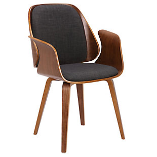 Tiffany Dining Chair in Charcoal Fabric with Walnut Veneer Finish, , large