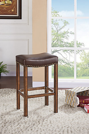 """Tudor 26"""" Backless Stationary Barstool in Wrangler Brown Fabric with Nailhead Accents, Brown, rollover"""