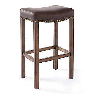 """Tudor 26"""" Backless Stationary Barstool in Wrangler Brown Fabric with Nailhead Accents, Brown, large"""