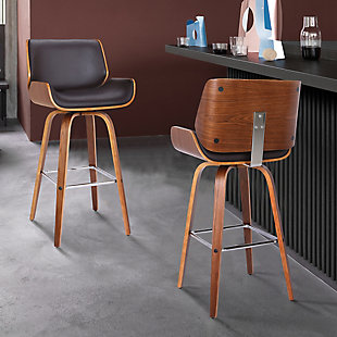 """Tyler 26"""" Swivel Counter Height Barstool in Brown Faux Leather with Walnut Veneer, Brown, rollover"""
