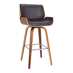 """Tyler 26"""" Swivel Counter Height Barstool in Brown Faux Leather with Walnut Veneer, Brown, large"""