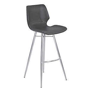 """Zurich 26"""" Counter Height Metal Barstool in Vintage Gray Faux Leather and Black Metal Finish, , large"""
