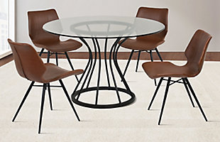 Zurich Dining Chair in Vintage Coffee Faux Leather and Black Metal Finish - Set of 2, , rollover