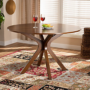 Baxton Studio Baxton Studio Kenji Modern and Contemporary Walnut Brown Finished 48-Inch-Wide Round Wood Dining Table, , rollover