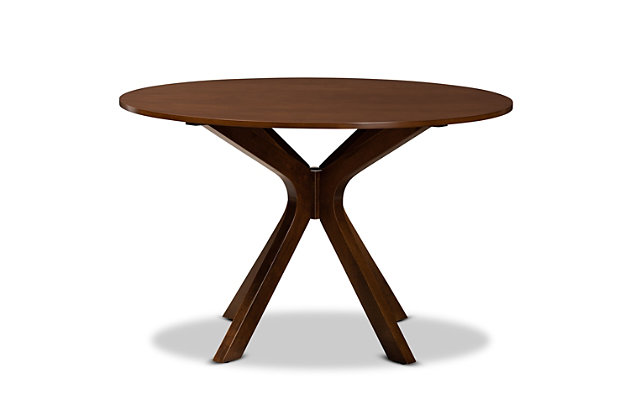Baxton Studio Baxton Studio Kenji Modern and Contemporary Walnut Brown Finished 48-Inch-Wide Round Wood Dining Table, , large