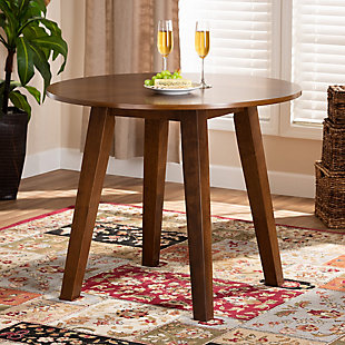 Baxton Studio Baxton Studio Ela Modern and Contemporary Walnut Brown Finished 35-Inch-Wide Round Wood Dining Table, Walnut, rollover