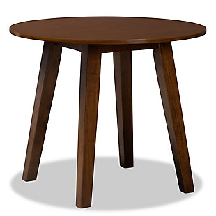 Baxton Studio Baxton Studio Ela Modern and Contemporary Walnut Brown Finished 35-Inch-Wide Round Wood Dining Table, Walnut, large