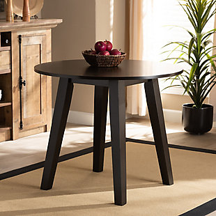 Baxton Studio Baxton Studio Ela Modern and Contemporary Dark Brown Finished 35-Inch-Wide Round Wood Dining Table, Dark Brown, large