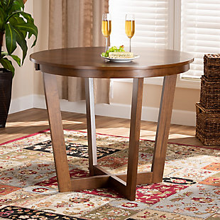 Baxton Studio Baxton Studio Alayna Modern and Contemporary Walnut Brown Finished 35-Inch-Wide Round Wood Dining Table, Walnut, rollover