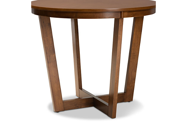 Baxton Studio Baxton Studio Alayna Modern and Contemporary Walnut Brown Finished 35-Inch-Wide Round Wood Dining Table, Walnut, large