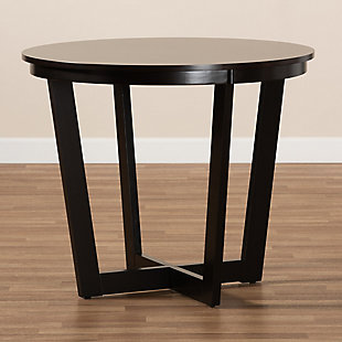 Baxton Studio Baxton Studio Alayna Modern and Contemporary Dark Brown Finished 35-Inch-Wide Round Wood Dining Table, Dark Brown, large