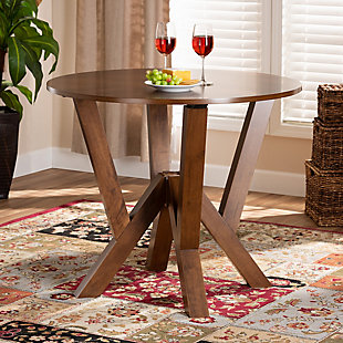 Baxton Studio Baxton Studio Irene Modern and Contemporary Walnut Brown Finished 35-Inch-Wide Round Wood Dining Table, Walnut, rollover