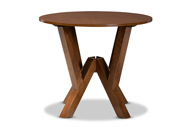 Baxton Studio Baxton Studio Irene Modern and Contemporary Walnut Brown Finished 35-Inch-Wide Round Wood Dining Table, Walnut, large
