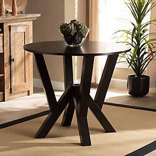 Baxton Studio Baxton Studio Irene Modern and Contemporary Dark Brown Finished 35-Inch-Wide Round Wood Dining Table, Dark Brown, large