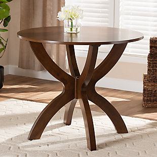 Baxton Studio Baxton Studio Tilde Modern and Contemporary Walnut Brown Finished 35-Inch-Wide Round Wood Dining Table, Walnut, rollover