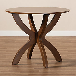 Baxton Studio Baxton Studio Tilde Modern and Contemporary Walnut Brown Finished 35-Inch-Wide Round Wood Dining Table, Walnut, large