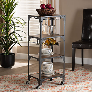 Baxton Studio Baxton Studio Victor Industrial Rustic Walnut Finished Wood and Black Metal 4-Tier Mobile Wine Cart, , rollover
