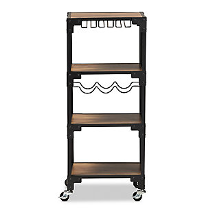 Baxton Studio Baxton Studio Victor Industrial Rustic Walnut Finished Wood and Black Metal 4-Tier Mobile Wine Cart, , large
