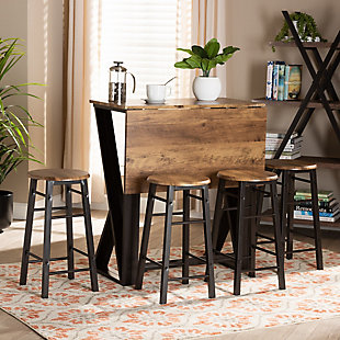Baxton Studio Baxton Studio Richard Industrial and Rustic Walnut Finished Wood and Black Metal 5-Piece Pub Set with Extendable Tabletop, , rollover