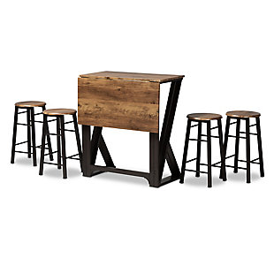 Baxton Studio Baxton Studio Richard Industrial and Rustic Walnut Finished Wood and Black Metal 5-Piece Pub Set with Extendable Tabletop, , large