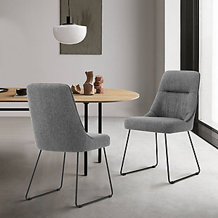 Armen Living Quartz Gray Fabric and Metal Dining Room Chairs - Set of 2, , rollover