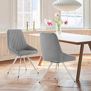 Armen Living Skye Swivel Gray Velvet and Brushed Stainless Steel Dining Room Chairs - Set of 2, , rollover