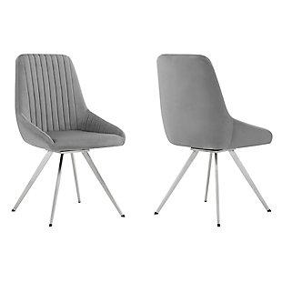 Armen Living Skye Swivel Gray Velvet and Brushed Stainless Steel Dining Room Chairs - Set of 2, , large