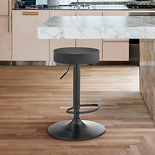 Armen Living Dax Backless Gray Faux Leather Adjustable Bar Stool, , rollover