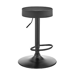 Armen Living Dax Backless Gray Faux Leather Adjustable Bar Stool, , large