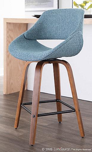 LumiSource Fabrico Counter Stool - Set of 2, Walnut/Blue/Black, rollover