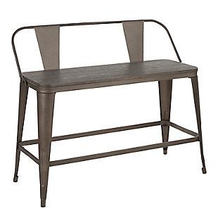 LumiSource Oregon Counter Bench, Antique/Espresso, large