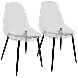 LumiSource Clara Dining Chair - Set of 2, Black/Clear, large