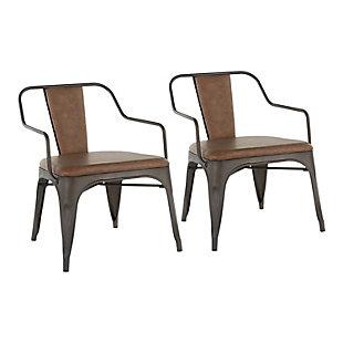 LumiSource Oregon Accent Chair - Set of 2, Antique/Espresso, large