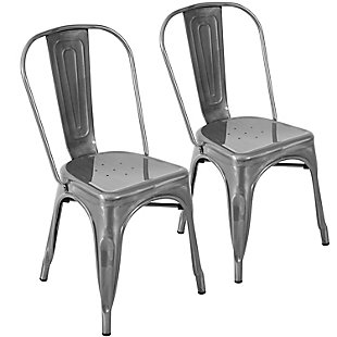 LumiSource Oregon Dining Chair - Set of 2, Silver, large
