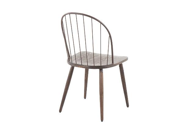 LumiSource Riley High Back Chair - Set of 2, Bronze/Dark Walnut, large