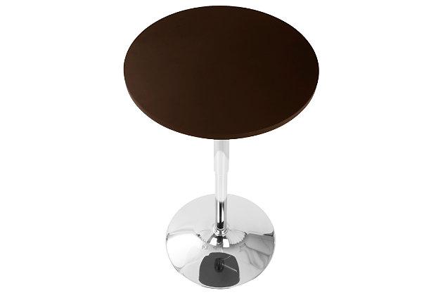 LumiSource Adjustable Bar Table, Brown, large