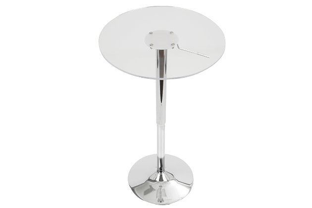 LumiSource Adjustable Bar Table, Clear, large