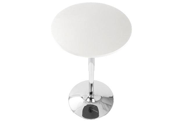 LumiSource Adjustable Bar Table, White, large