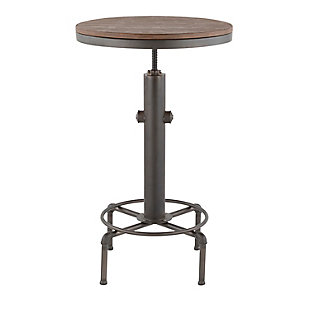 LumiSource Hydra Bar Table, Vintage Antique/Brown, large