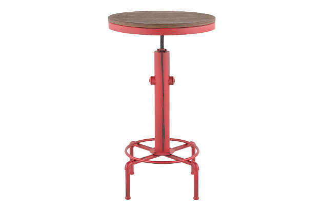 LumiSource Hydra Bar Table, Vintage Red/Brown, large