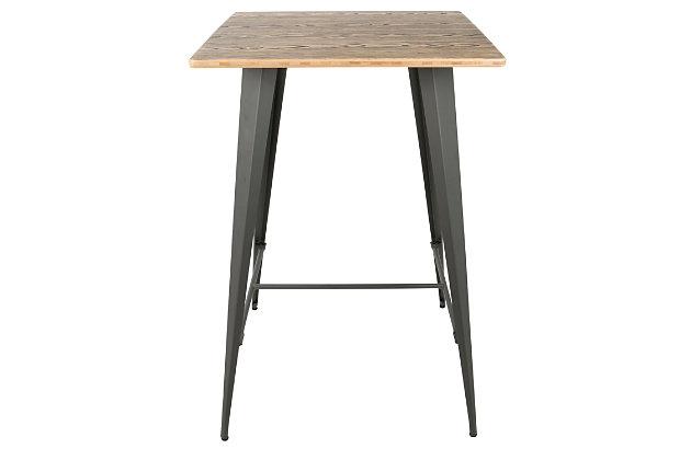 LumiSource Oregon Bar Table, Medium Brown/Gray, large