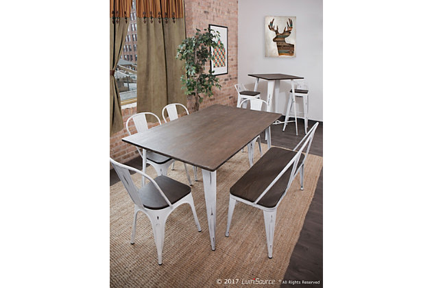 LumiSource Oregon Bar Table, White/Espresso, large