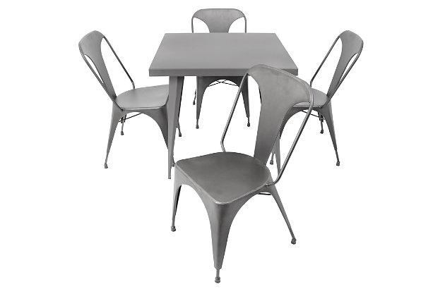 LumiSource Austin Dinette Table, Matte Gray, large