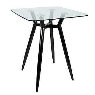 LumiSource Clara Square Counter Table, Black/Clear, large
