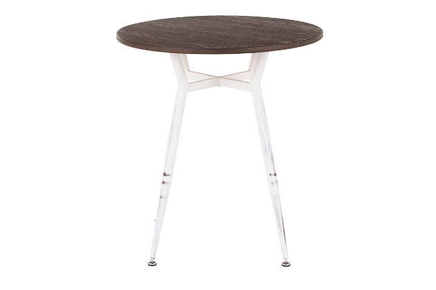 LumiSource Clara Round Dinette Table, Vintage White/Espresso, large