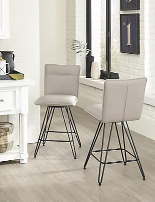 Modus Furniture International Demi Hairpin Leg Swivel Bar Stool in Taupe (Set of 2), Taupe, rollover