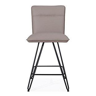 Modus Furniture International Demi Hairpin Leg Swivel Bar Stool in Taupe (Set of 2), Taupe, large