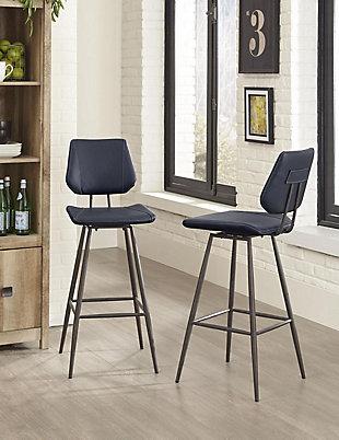 Modus Furniture International Vinson Modern Swivel Counter Stool in Cobalt (Set of 2), Cobalt, rollover