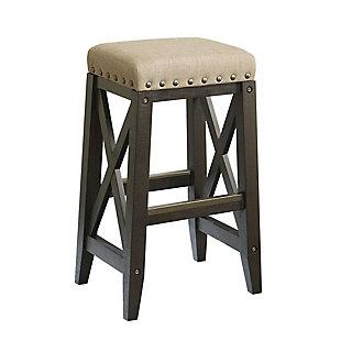 Modus Furniture International Yosemite Solid Wood Upholstered Bar Stool in Cafe, , large